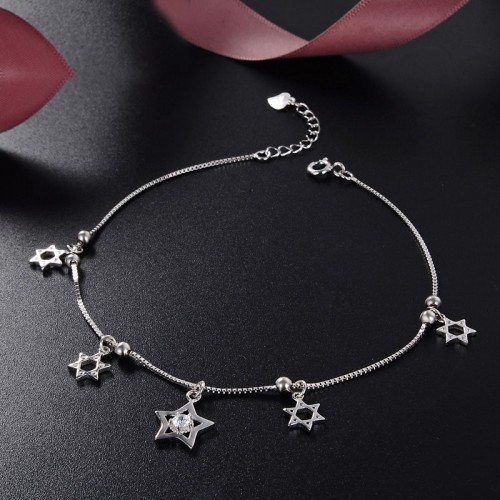 Exquisite Simple Fashion Sweet Stars Sterling Silver Anklet Perfect Gift