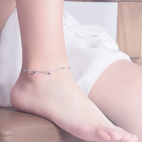 Simple Channel Style Fashion Heart Shaped Two Layers 925 Sterling Silver Anklet Perfect Gift