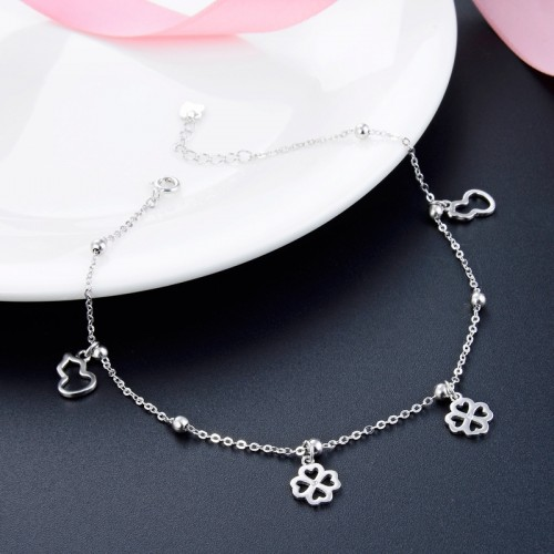Simple Forest Series of Four Leaf Clover 925 Sterling Silver Lucky Anklet