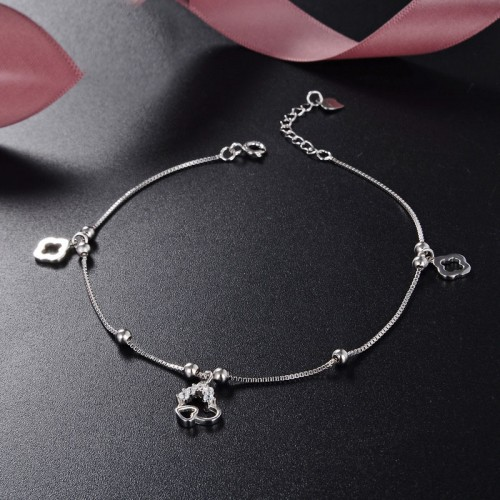 Sweet Channel Style Fashion 925 Sterling Silver Anklet Perfect Gift