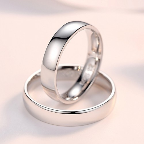 925 Sterling Silver Simple Smooth Couple's Rings ( Price for Pair )