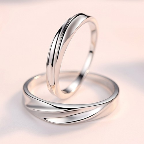 Sterling Silver Korean Version of Fashion interwoven Lover Rings( Price for Pair)