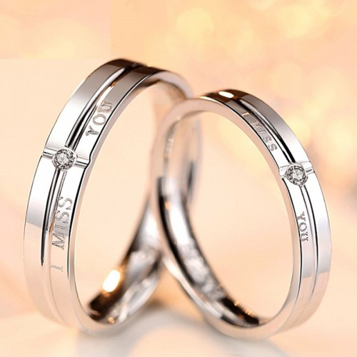 """I MISS YOU"" Korean Personality 925 Sterling Silver Lover Rings - Couplejewel"