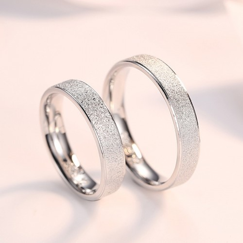 925 Sterling Silver Sanded Smooth Simple Style  Couple Rings (Price For a Pair)