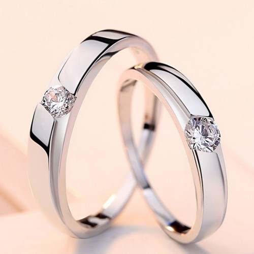 Lovers' Ring 925 Silver Ornament with Diamond Couples Rings (Price for Pair)