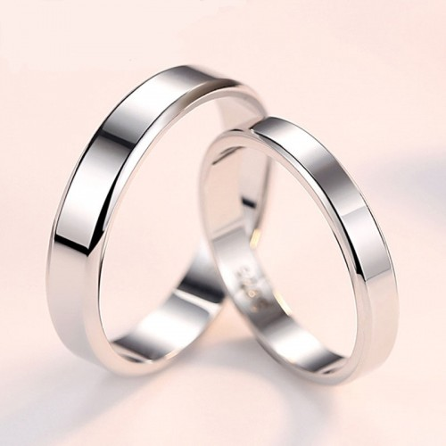 Classic Smooth 925 Sterling Silver Couples Rings (Price for Pair)